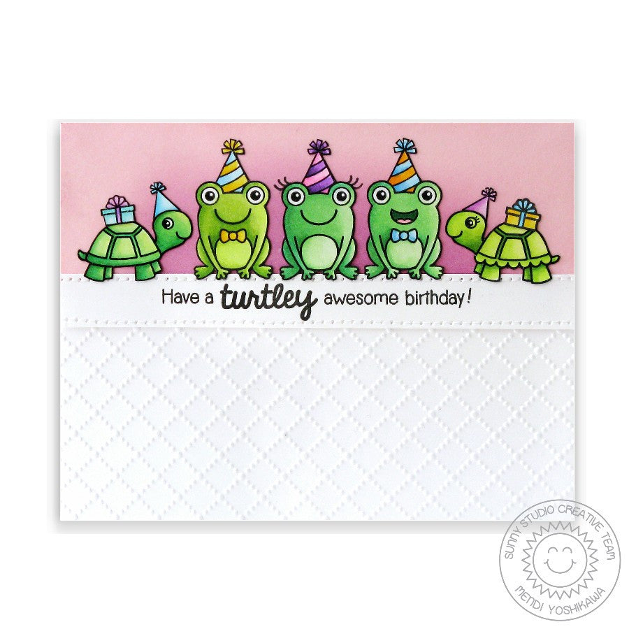 Sunny Studio Turtley Awesome Turtle & Frog Card