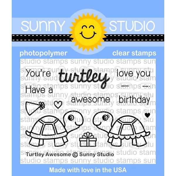 Sunny Studio Turtley Awesome 2x3 Turtle Photopolymer Clear Stamp set  SSCL-153