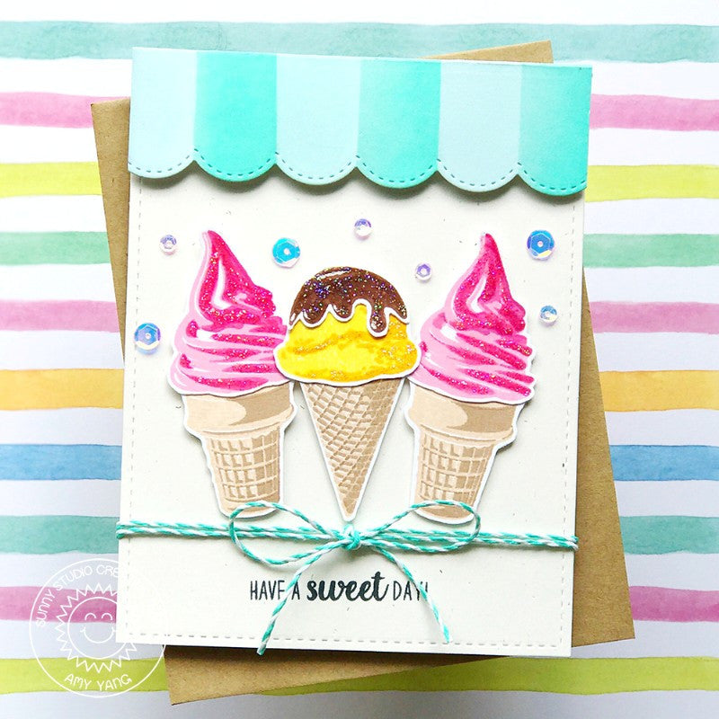 Sunny Studio Stamps Ice Cream Parlor Punny Handmade Card (using Two Scoops Layered Layering 4x6 Clear Photopolymer Stamp Set)