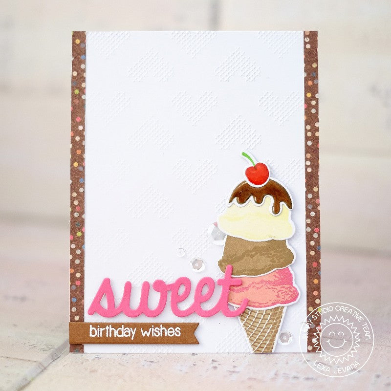 Sunny Studio Stamps Two Scoops Ice Cream Triple Scoop Cone Card