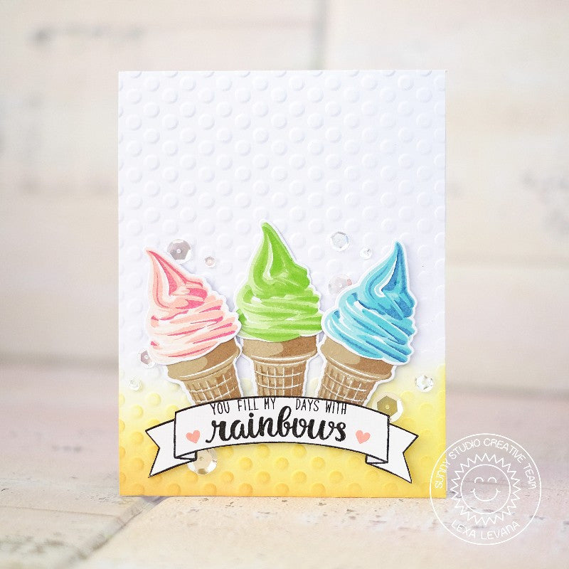 Sunny Studio Stamps Two Scoops Soft Serve Rainbow Cone Card