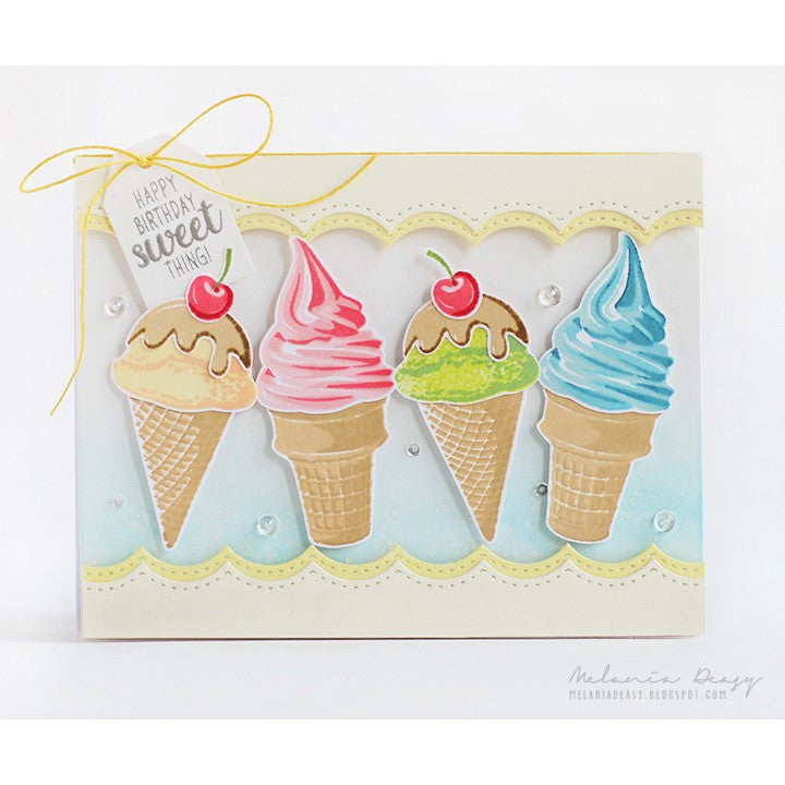 Sunny Studio Stamps Two Scoops Happy Birthday Sweet Thing Ice Cream Handmade Card (using 4x6 Color Layering Layered Clear Photopolymer Stamp Set)