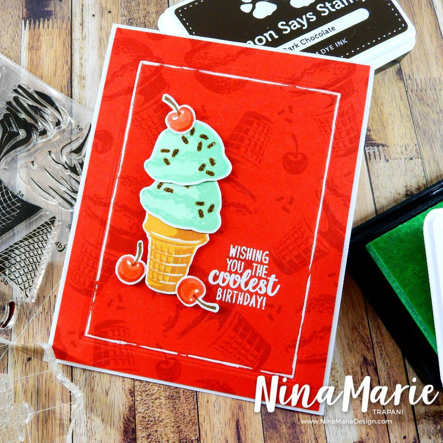 Sunny Studio Stamps Chocolate Mint Ice Cream with Cherry Card