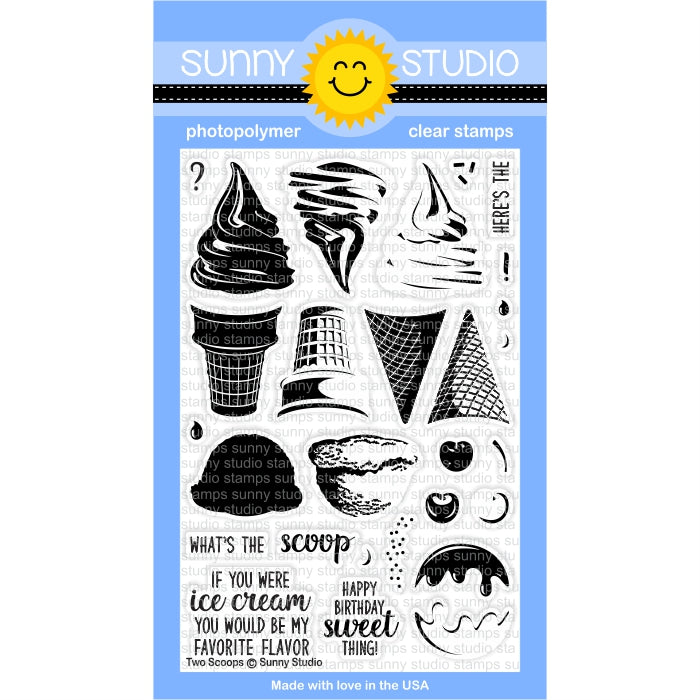 Sunny Studio Stamps Two Scoops Ice Cream 4x6 Clear Stamp Set