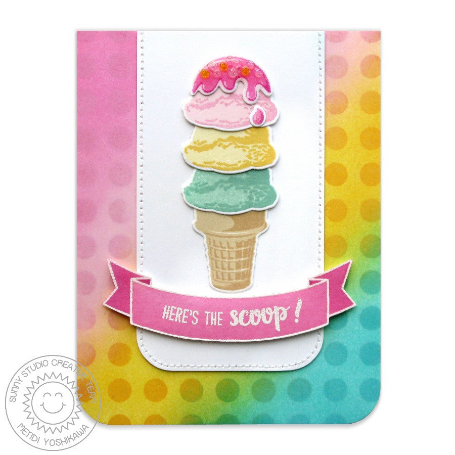Sunny Studio Stamps Two Scoops Polka-dot Here's The Scoop Ice Cream Card