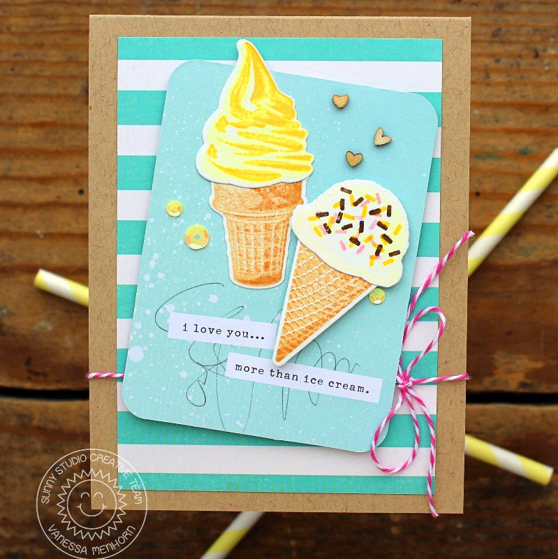 Sunny Studio Stamps Two Scoops Ice Cream Birthday Card