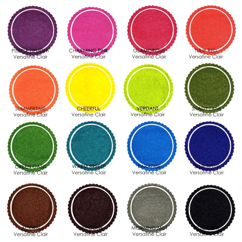 Tsukineko VersaFine Clair Pigment Ink Stamp Pads Color Chart