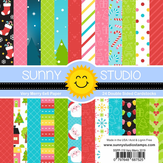 Sunny Studio Stamps Very Merry Christmas Holiday 6x6 Patterned Paper Pack
