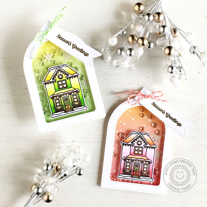 Sunny Studio Stamps Victorian Home Handmade Christmas Holiday Shaker Gift Tags (using Stitched Arch Metal Cutting Dies)