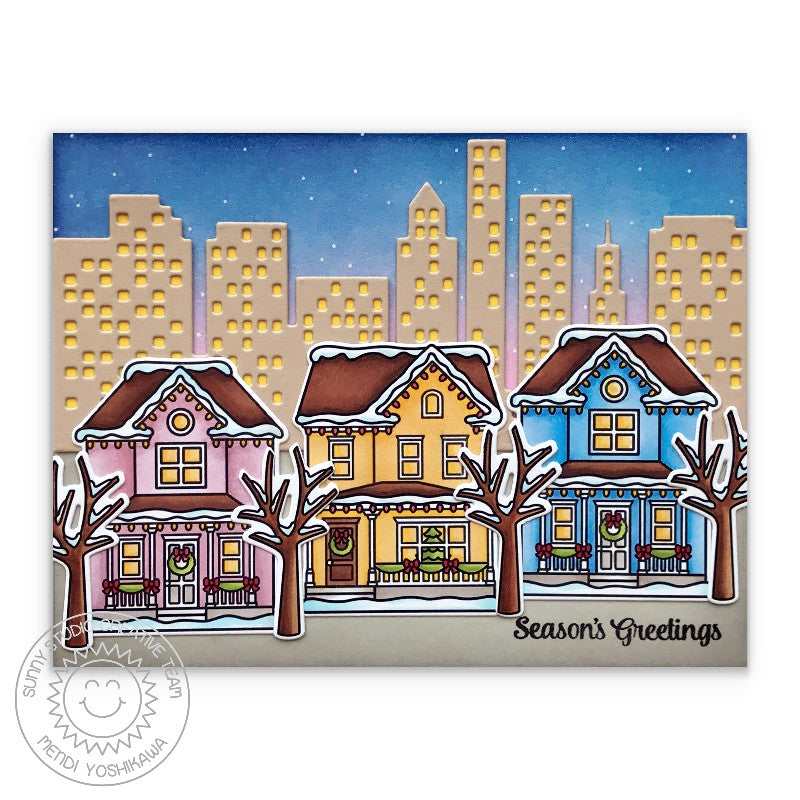 Sunny Studio Stamps Season's Greetings Victorian Houses with City Buildings in Background Handmade Holiday Christmas Card inspired by San Francisco Alamo Square Park (using Cityscape Border Metal Cutting Dies)