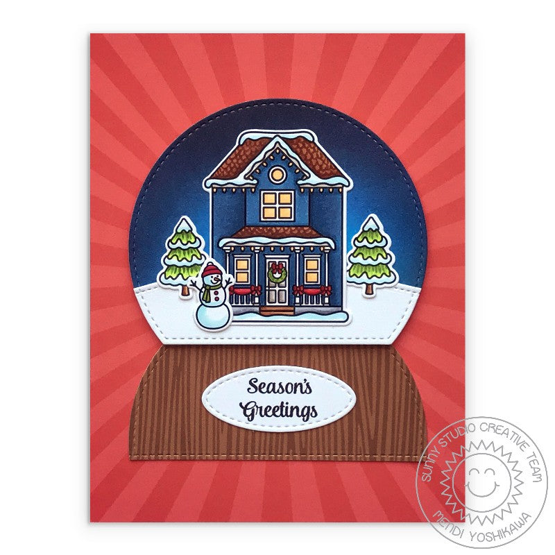 Sunny Studio Stamps Season's Greetings House In Snowglobe Snow Globe Red Sun Ray Nativity Holiday Christmas Card (using Classic Sunburst 6x6 Double Sided Patterned Paper Pack)