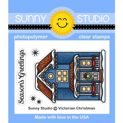Sunny Studio Stamps Victorian Christmas Holiday Winter House Home Mini  2x3 Clear Photopolymer Stamp Set