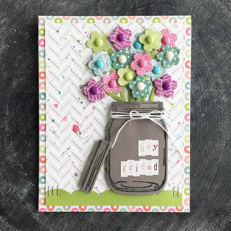 Sunny Studio Stamps Hello Friend Flowers in Jar Card by Laura Vegas (using Vintage Jar Stamps)