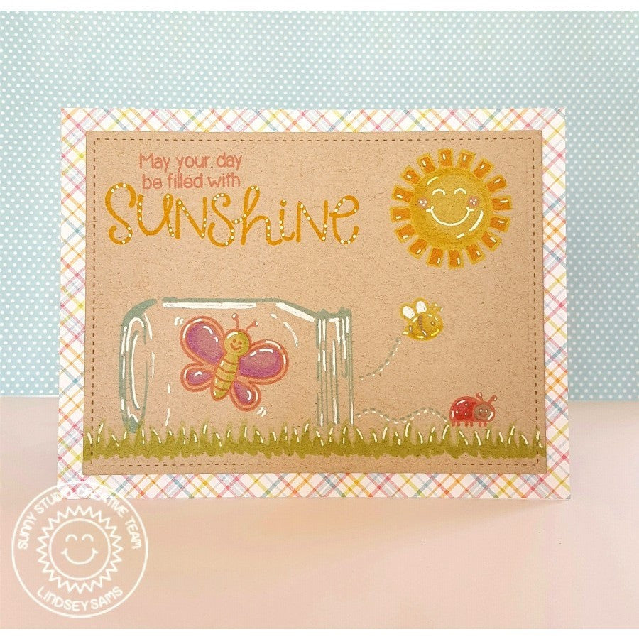 "Sunny Studio Stamps Backyard bugs Ladybug & Butterfly in Jar Colored Pencils on Kraft ""May Your Day Be Filled With Sunshine"" Card (using vintage jar stamps)"