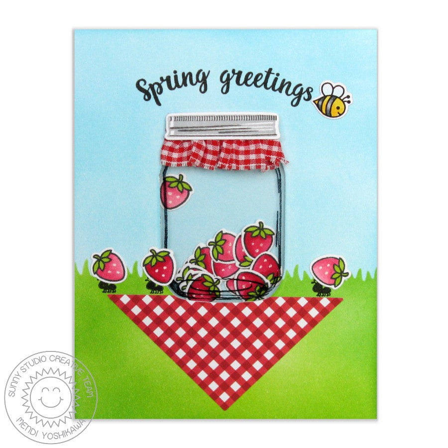 Sunny Studio Vintage Jar Strawberry Shaker Card