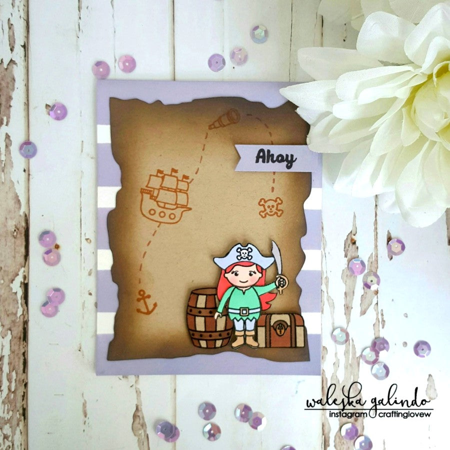 Sunny Studio Stamps Pirate Pals Pirate Girl Ahoy Card by Waleska
