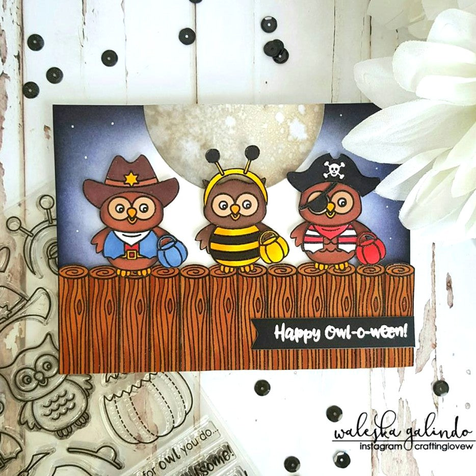 Sunny Studio Stamps Happy Owl-o-ween Costumed Owls sitting on a Fence Card