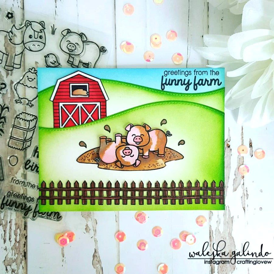 Sunny Studio Stamps Barnyard Buddies Pigs Playing in Mud Card by Waleska