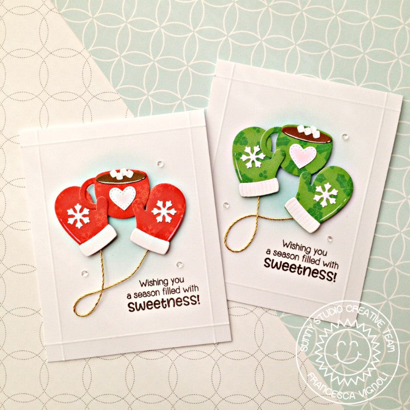 Sunny Studio Stamps Warm & Cozy Hot Chocolate and Snowflake Mittens Card Set