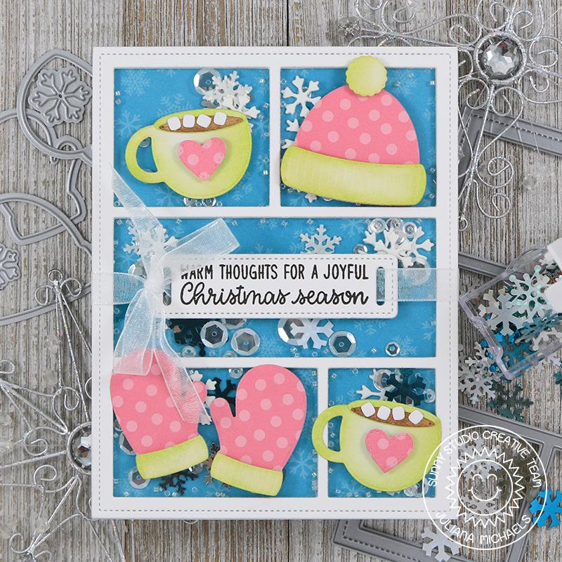 Sunny Studio Stamps Warm & Cozy Winter Hat, Mittens & Hot Chocolate Card (using Comic Strip Dies)
