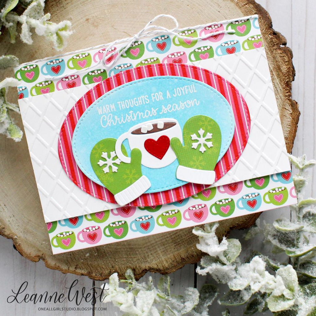 Sunny Studio Stamps Hot Cocoa and Mittens Christmas Card (using Holiday Cheer Paper & Warm & Cozy dies)