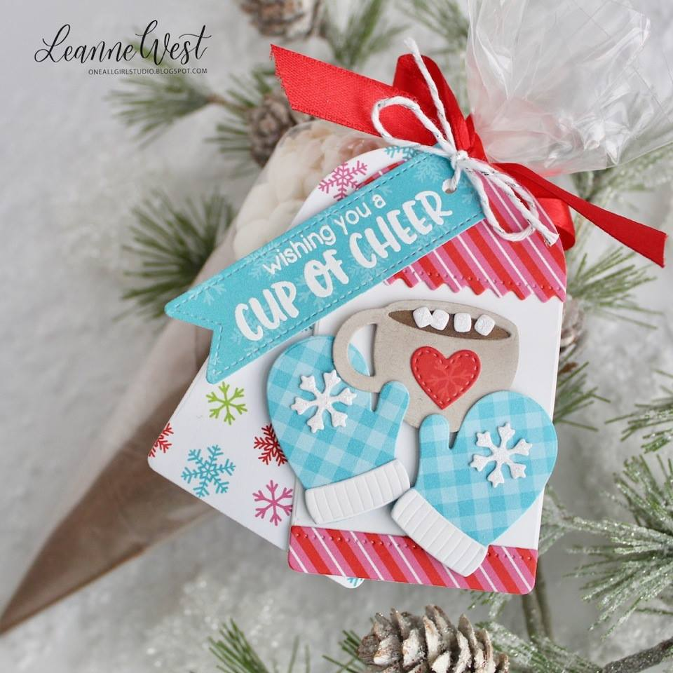 Sunny Studio Stamps Hot Cocoa & Mittens Christmas Gift Tag (using Warm & Cozy Dies)