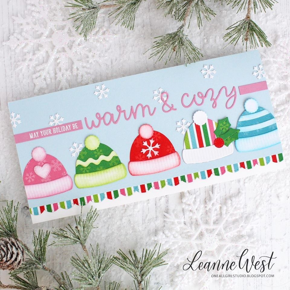 Sunny Studio Stamps Warm & Cozy Hat Christmas Card (using Loopy Letter Dies)