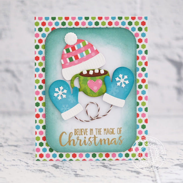 Sunny Studio Stamps Hat, Mittens & Hot Chocolate Holiday Christmas Card (using Warm & Cozy Dies)
