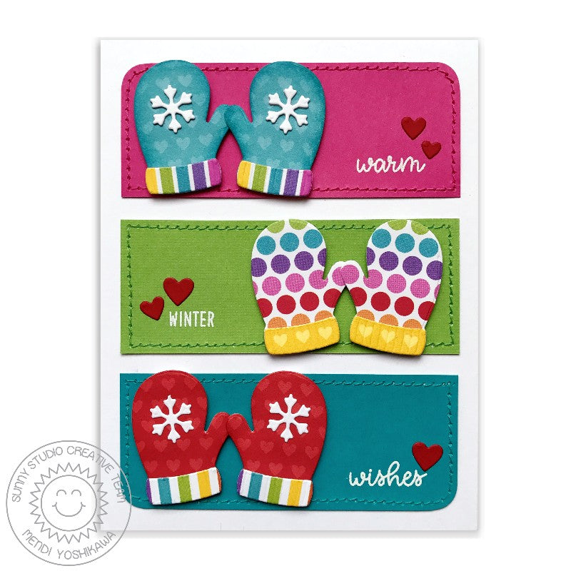 Sunny Studio Stamps Warm & Cozy Warm Winter Wishes Mitten Colorblocked Card