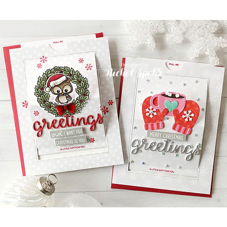 Sunny Studio Stamps Warm & Cozy Mittens & Hot Cocoa Winter Slider Card by Mendi Yoshikawa