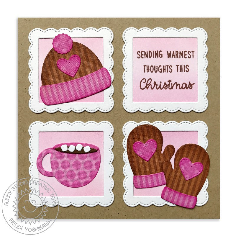 Sunny Studio Stamp Warm & Cozy Hat, Mittens & Hot Chocolate Pink & Kraft Winter Card
