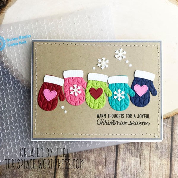 Sunny Studio Stamps Warm & Cozy Embossed Cable Knit Mittens Card by Teri Anderson