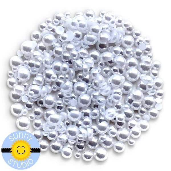 Sunny Studio Stamps 3mm, 4mm, 5mm & 6mm White Faux Pearls Embellishment assortment for card making, paper crafts and scrapbooking
