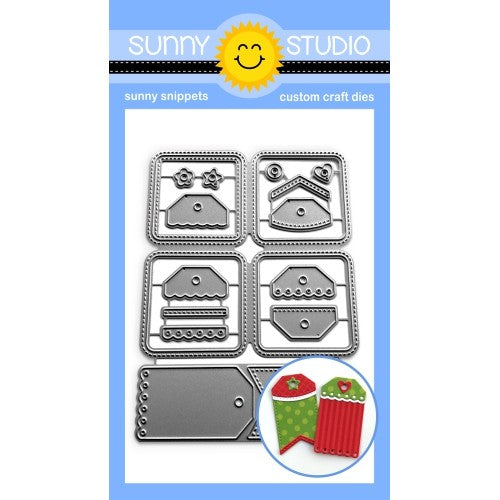 Sunny Studio Stamps Window Quad Square Grid Stitched Cutouts with 2 Mini Mix and Match Gift Tags Metal Cutting Dies