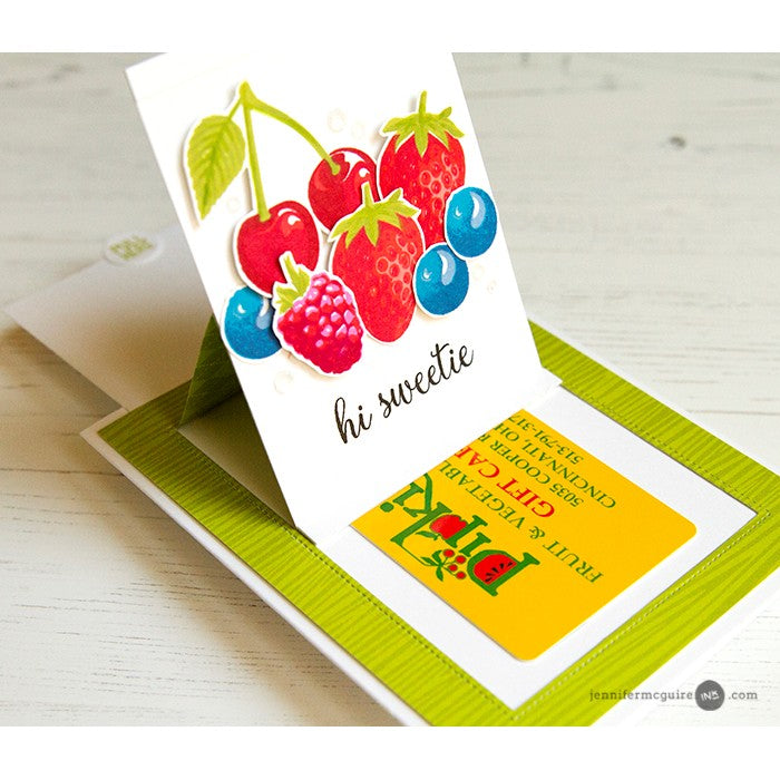 Sunny Studio Stamps Green Woodgrain Berry Sliding Card (using Amazing Argyle 6x6 Paper)