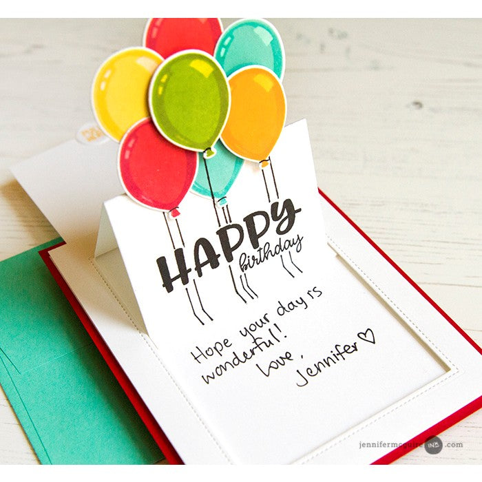 Sunny Studio Stamps Sliding Window Birthday Balloon Pop-up Card by Jennifer McGuire