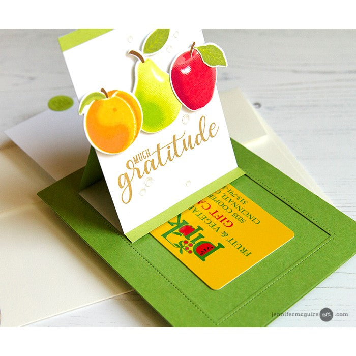 Sunny Studio Stamps Sliding Window Fruit Cocktail Peach, Pear & Apple Pop-up Card by Jennifer McGuire