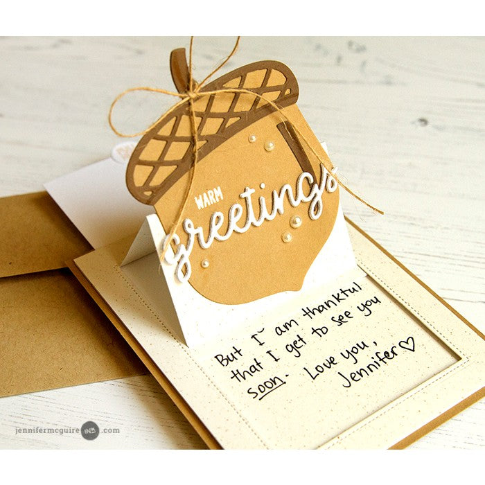Sunny Studio Stamps Sliding Window Warm Greetings Acorn Pop-up Card by Jennifer McGuire