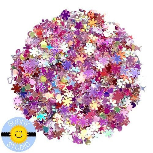 Sunny Studio Stamps Winter Mix Pink & Purple Snowflakes, Stars & Hearts Iridescent Confetti Embellishment for Shaker Cards