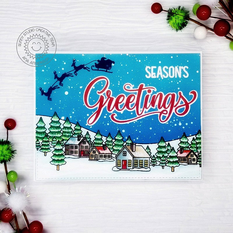 Sunny Studio Season's Greetings Santa with Reindeer & Sleigh Silhouette Flying over Sleeping Town Holiday Christmas Card (using Here Comes Santa 2x3 Clear Mini Stamps)
