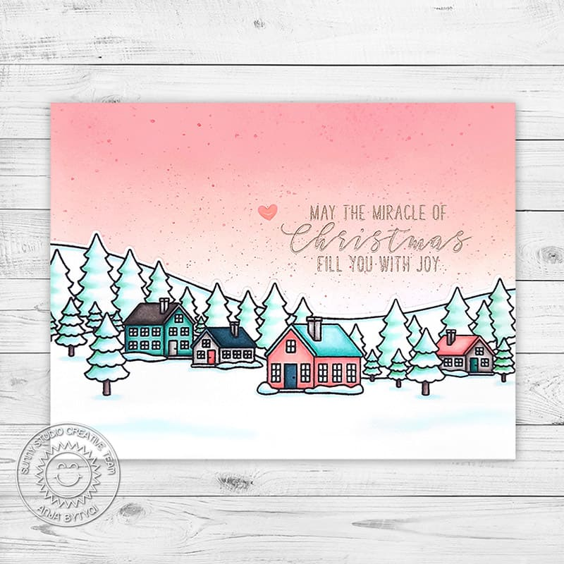 Sunny Studio May the Miracle of Christmas Fill You with Joy Aqua & Pink Sky House Themed Holiday Christmas Card (using Winter Scenes 4x6 Clear Stamps)
