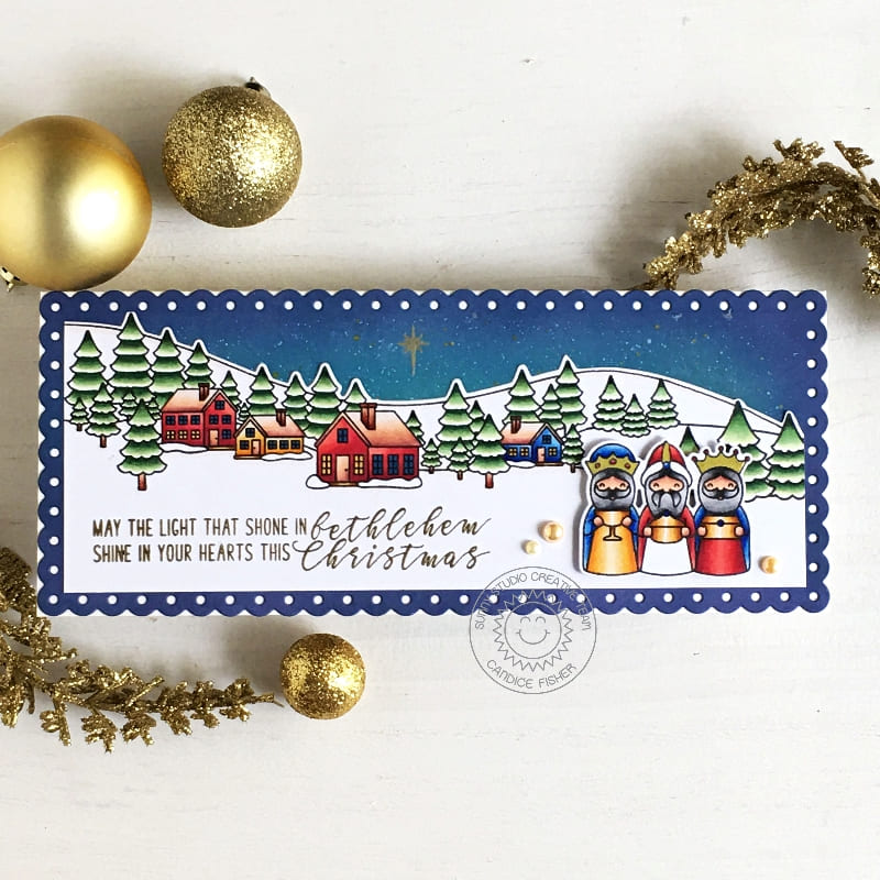 Sunny Studio May The Light that Shown in Bethlehem, Shine in your Hearts This Christmas Wise Men Religious Handmade Holiday Christmas Card (using Holy Night 4x6 Clear Stamps)