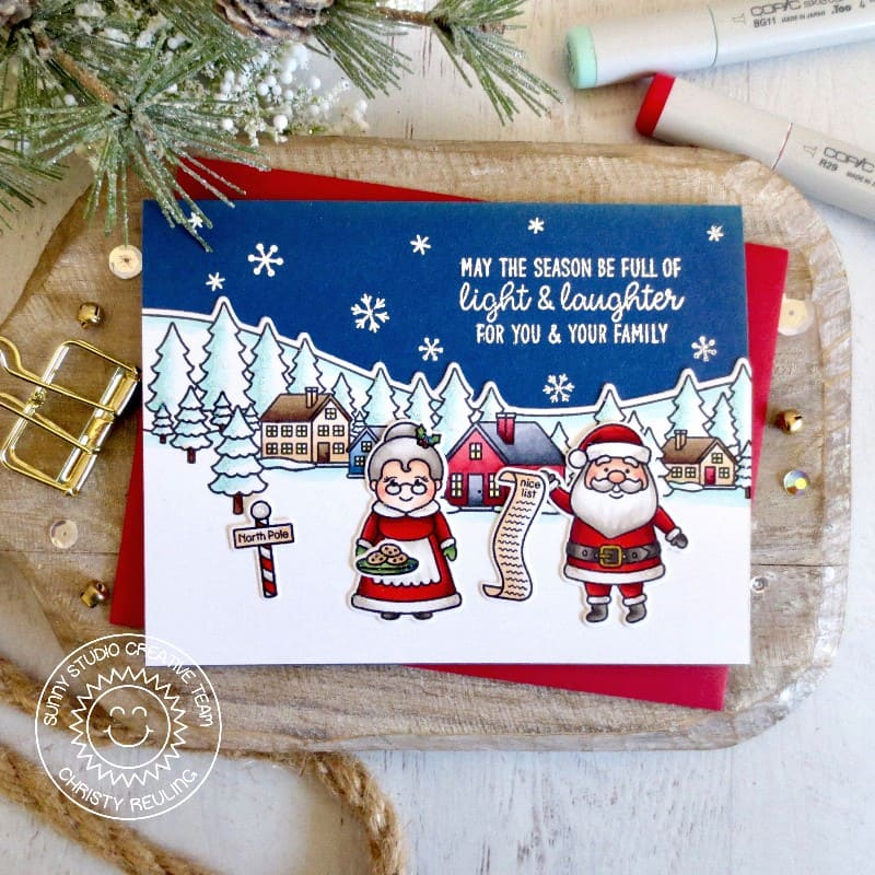 Sunny Studio Santa & Mrs. Claus at North Pole Handmade Holiday Card (using Winter Scenes 4x6 Clear Stamps)