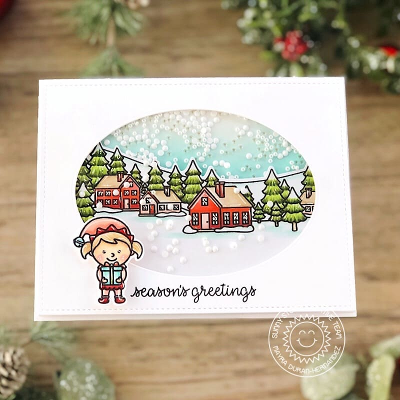 Sunny Studio Season's Greetings Elf At The North Pole Handmade Holiday Christmas Shaker Card (using Winter Scenes 4x6 Clear Photopolymer Stamps)