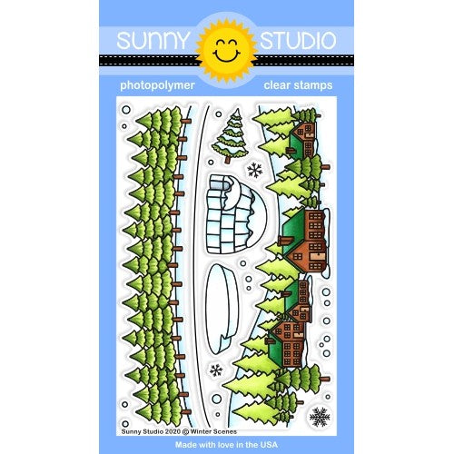Sunny Studio Stamps Winter Scenes Fir Tree, Houses, Log Cabin Border, Igloo, Ice Block and Snowflakes 4x6 Clear Photopolymer Stamp Set