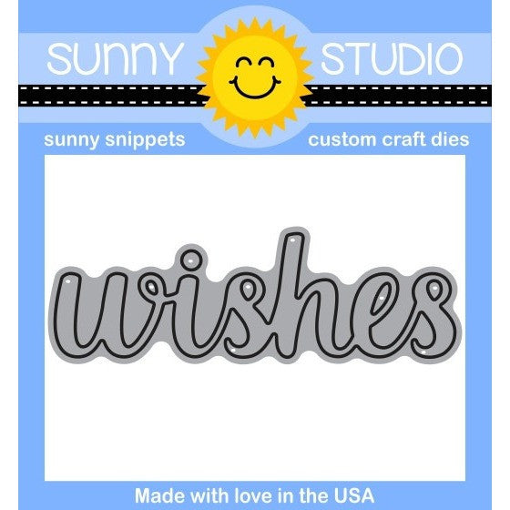 Sunny Studio Stamps Wishes Word Die (coordinates with Heartfelt Wishes Stamps)