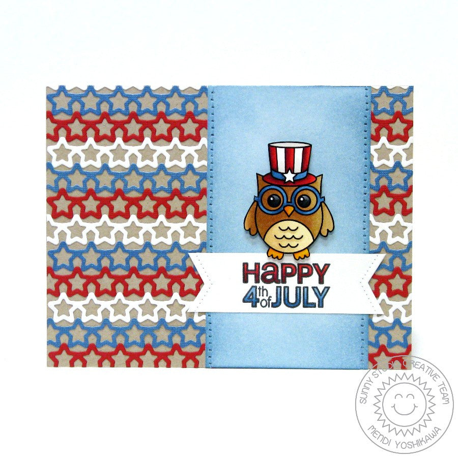 Sunny Studio Stamps Owl Fourth of July Card with Star Border Background
