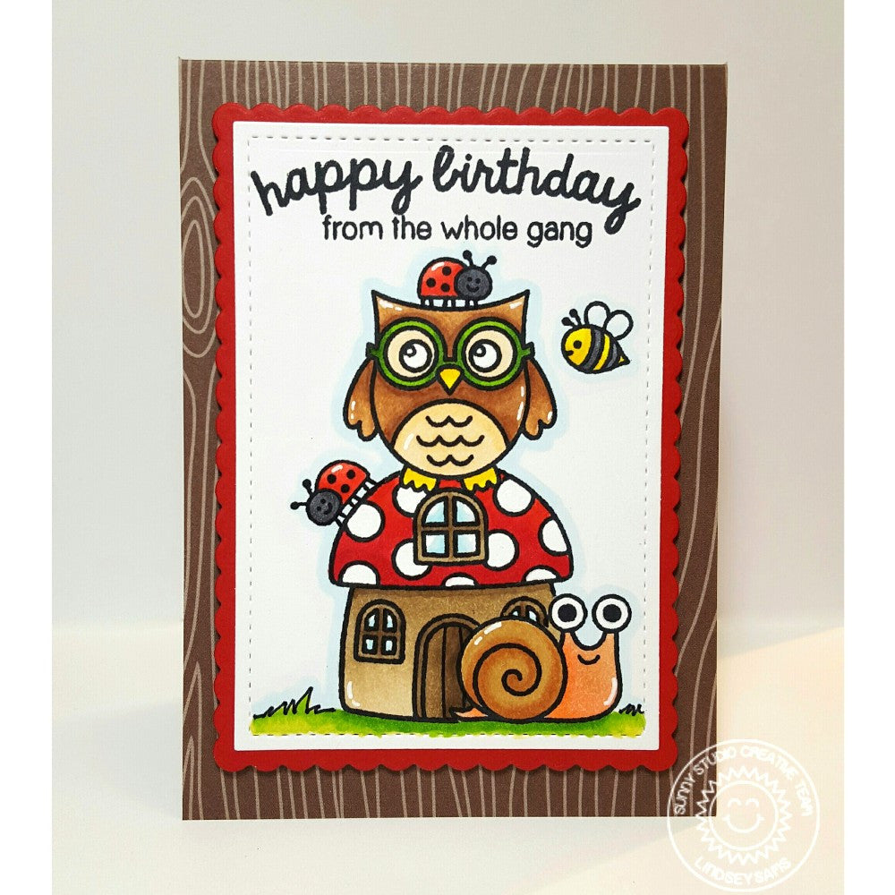 Sunny Studio Stamps Backyard Bugs Owl, Snail, Ladybug & Bumblebee Birthday Card