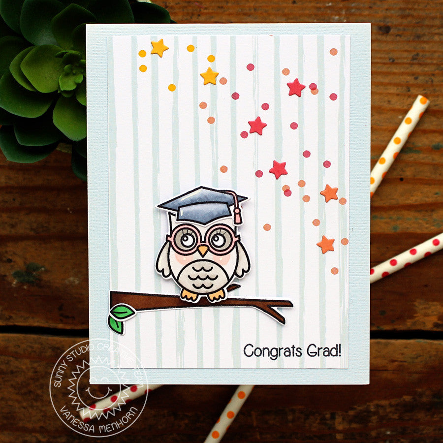 Sunny Studio Stamps Owl Graduation Card with Scattered Starry background using star border die