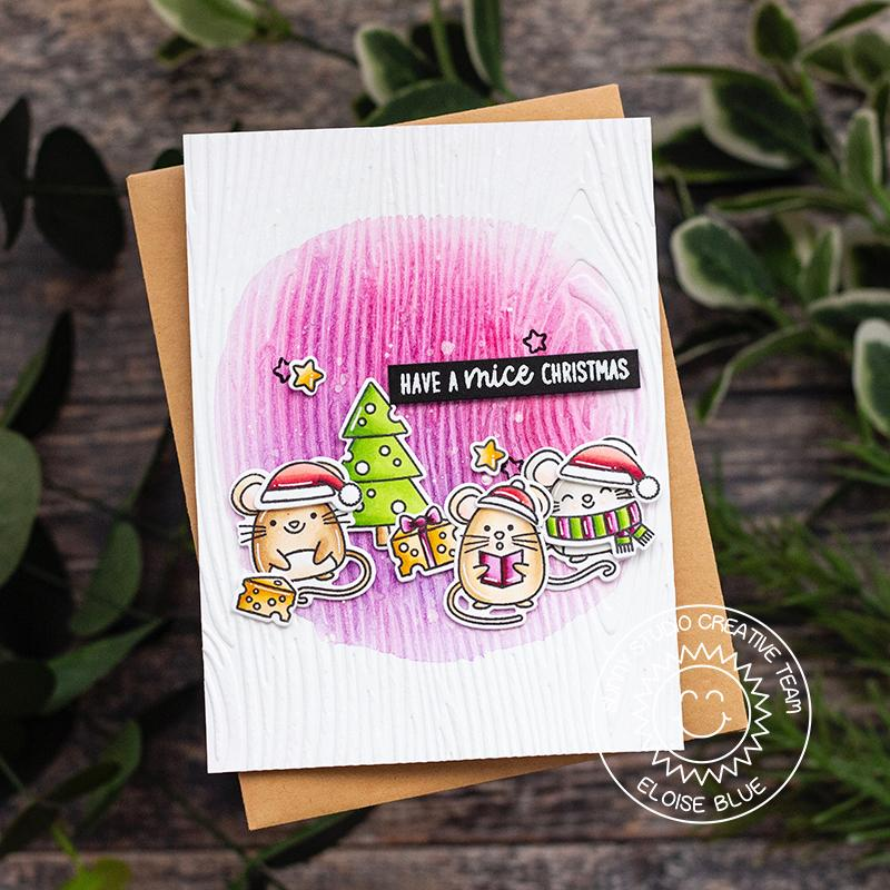 Sunny Studio Stamps Mouse Wood Embossed Handmade Holiday Christmas Card by (using Woodgrain 6x6 Embossing Folder)
